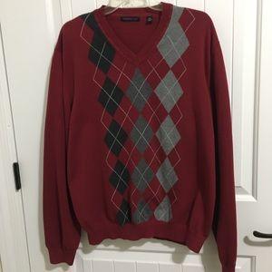 VAN HEUSEN Mens Red Argyle v-neck Sweater XXL